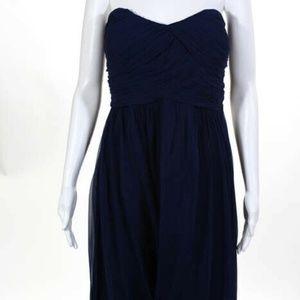 Donna Morgan Blue Silk NEW Zip Sweetheart Dress